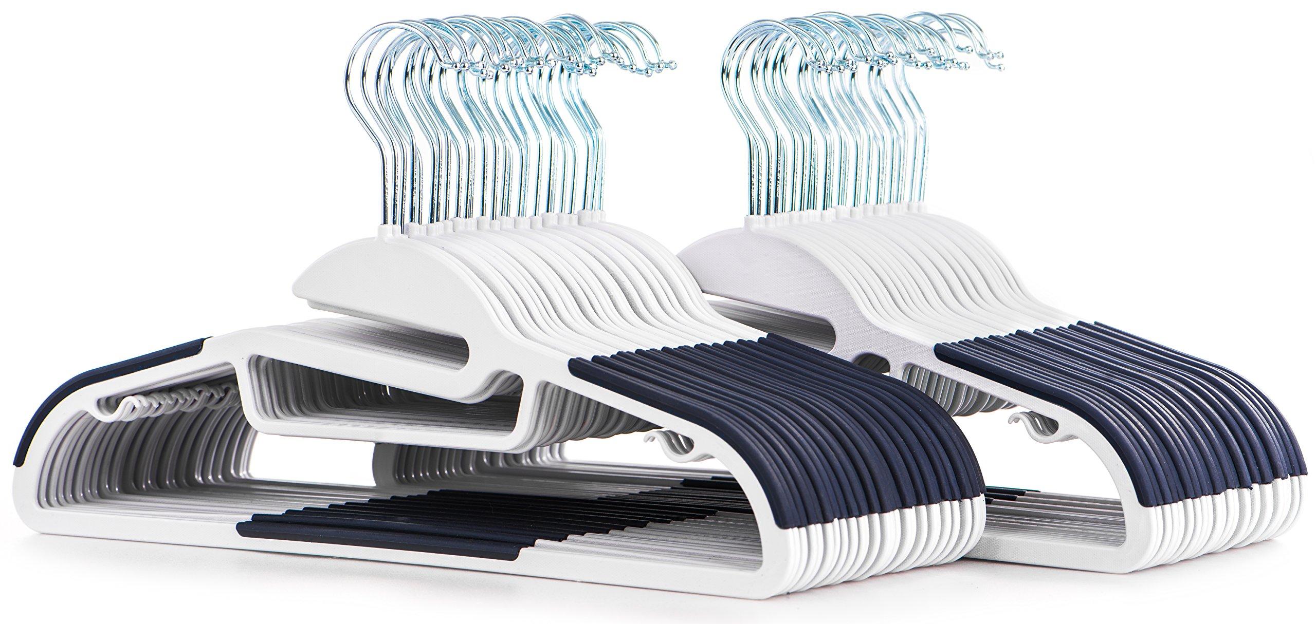Popular Design 50pc White Easy-On Hangers with Dark Blue Non-Slip Pads - Premium Quality Clothes Hanger Set