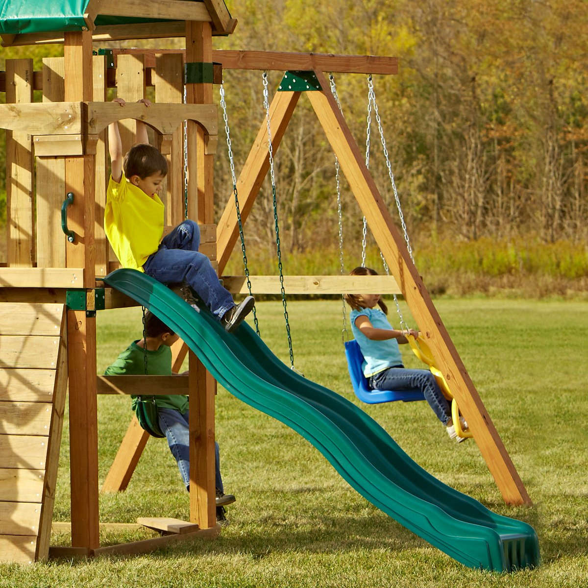 Swing-N-Slide WS 8335 Cool Wave Slide for 4' Decks with Included Safety Handles, Green by Swing-N-Slide (Image #3)