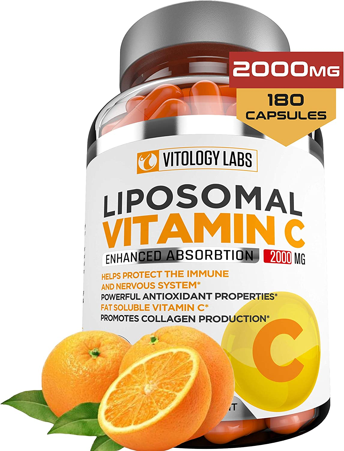 Vitology Labs Liposomal Vitamin C 2000mg - 180 Capsules –Ultra Potent High Absorption Ascorbic Acid, Supports Immune System & Collagen Booster - Powerful Antioxidant High Dose Fat Soluble Lypo Spheric