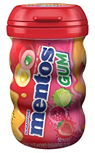 Mentos Sugar-Free Chewing Gum, Red Fruit Lime, Non Melting, 50 Piece Bottle