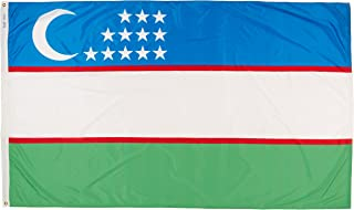 product image for Annin Flagmakers Model 973754 Uzbekistan Flag Nylon SolarGuard NYL-Glo, 5x8 ft, 100% Made in USA to Official United Nations Design Specifications