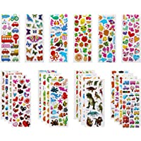 VLCOO 3D Stickers for Kids Puffy Stickers 500+ children Stickers 22 Variety Sheets for Rewarding Gifts Scrapbooking Including Animals, Fish, Dinosaurs, Numbers, Fruits, Trucks, Airplane, and More