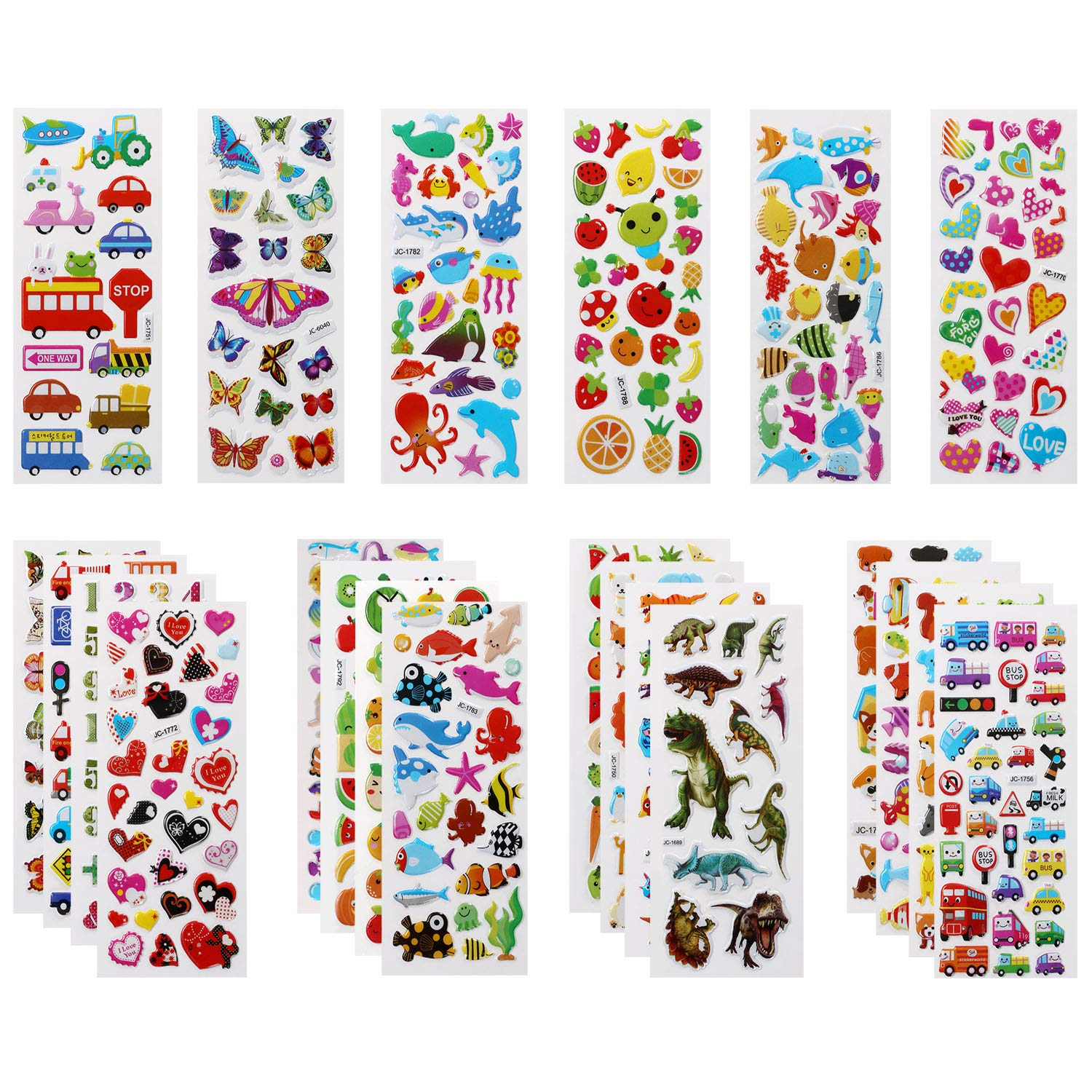 22 Feuilles Autocollants de Vari/ét/és pour R/écompenser Scrapbooking Camions etc. Num/éros Fruits Dinosaures VLCOO Autocollants 3D pour Enfants 500+ Stickers 3D en Relief y Compris Animaux