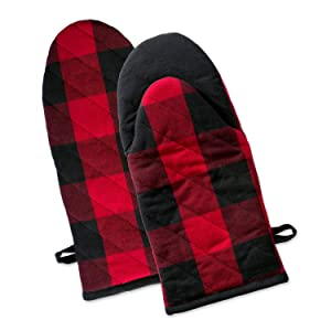"DII Buffalo Check Plaid Oven Mitts, Heat Resistant for Everyday Kitchen Cooking and Baking, Perfect for Holidays or Hostess & Housewarming Gifts (13x6"" - Set of 2), Red & Black"