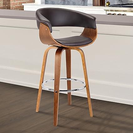 Awesome Armen Living Lcjsbawabr30 Julyssa Mid Century Swivel Bar Stool 30 Brown Cjindustries Chair Design For Home Cjindustriesco