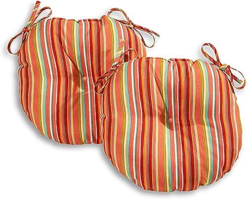 South Pine Porch AM5816S2-WATERMELON Watermelon Stripe 15-inch Round Outdoor Bistro Chair Cushion
