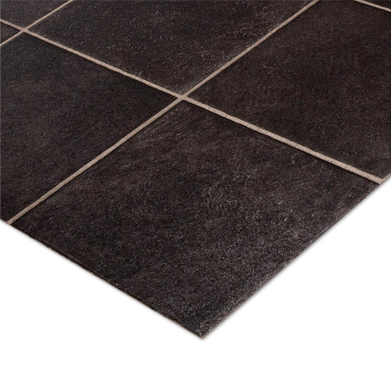 casa pura® CV Bodenbelag Malaga | Anthrazit | edle Fliesenoptik | Oberfläche strukturiert | Meterware (200x300cm)