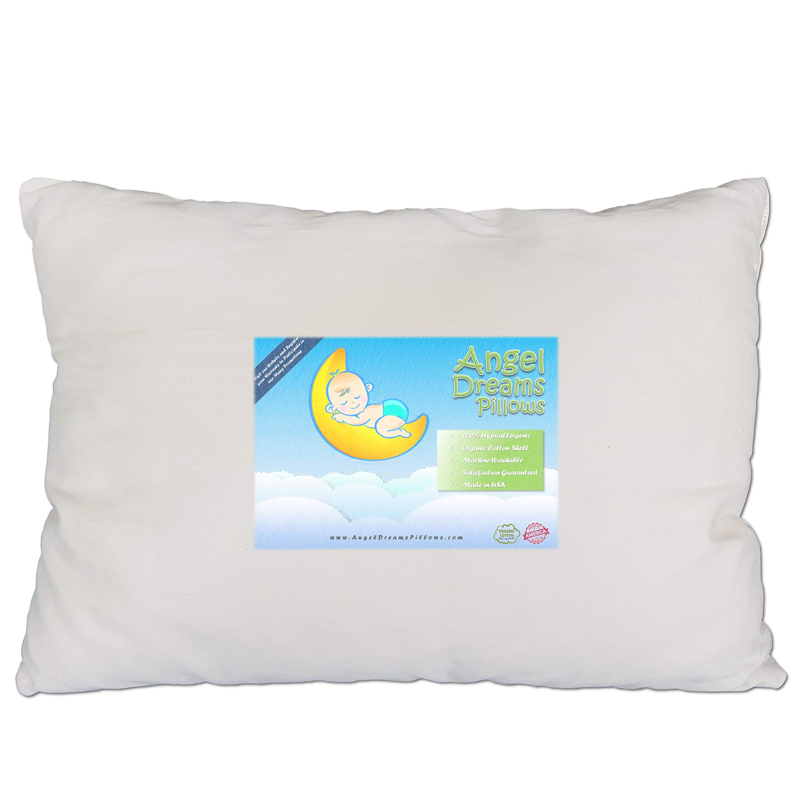 Toddler Pillow - Organic Cotton Made in USA, 13x18 Washable Unisex Kids Pillow