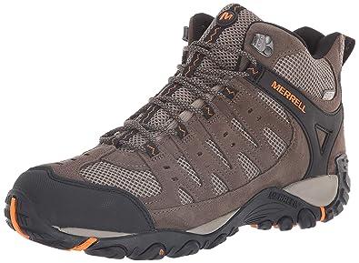 1a697939fb Merrell Men's Accentor Mid Vent Waterproof Hiking Boot, Boulder/Orange  Peel, ...