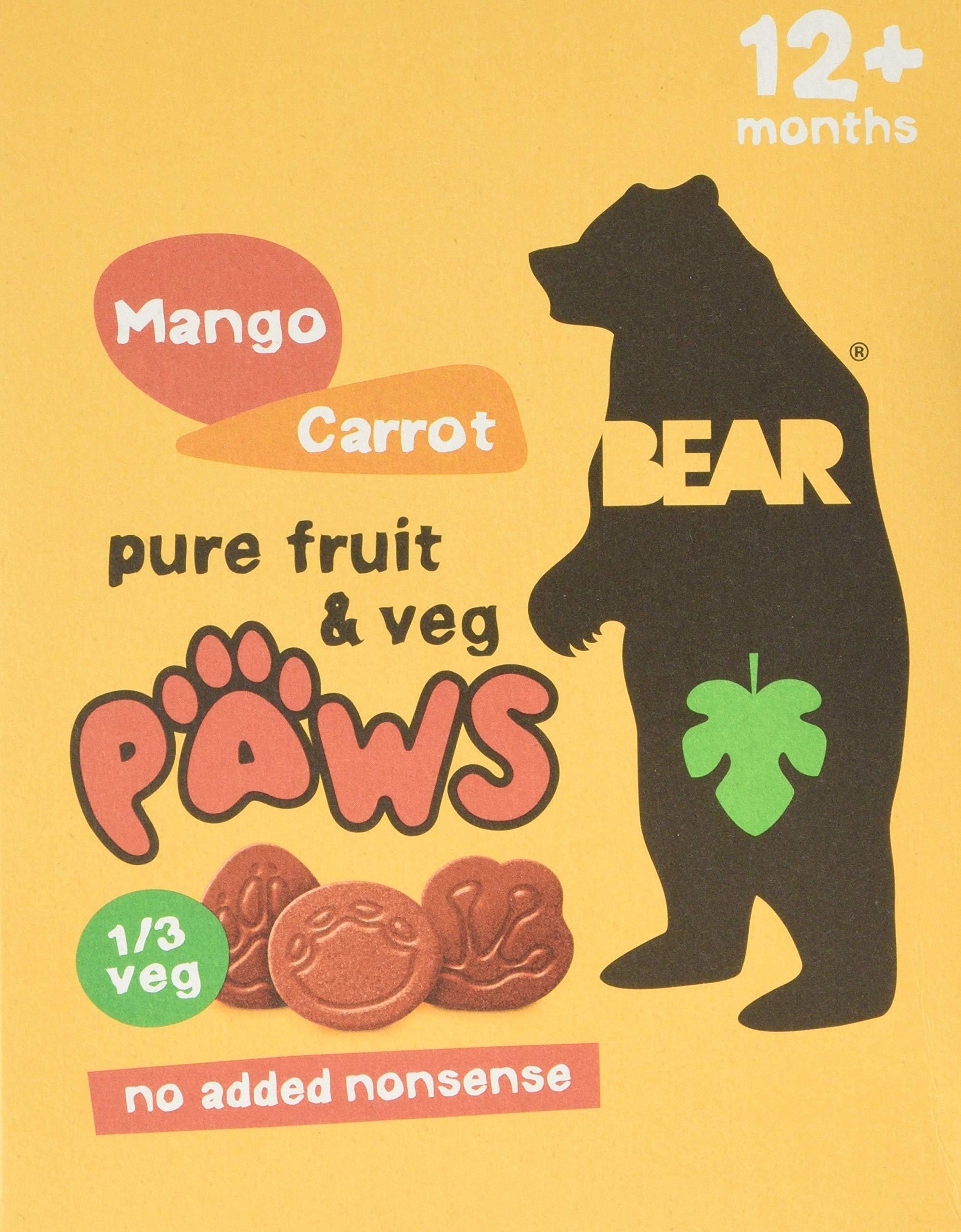 BEAR Mango & Carrot Pure Fruit & Veg Paws 20 x 20g (5 Packs Per Box, 4 Boxes)
