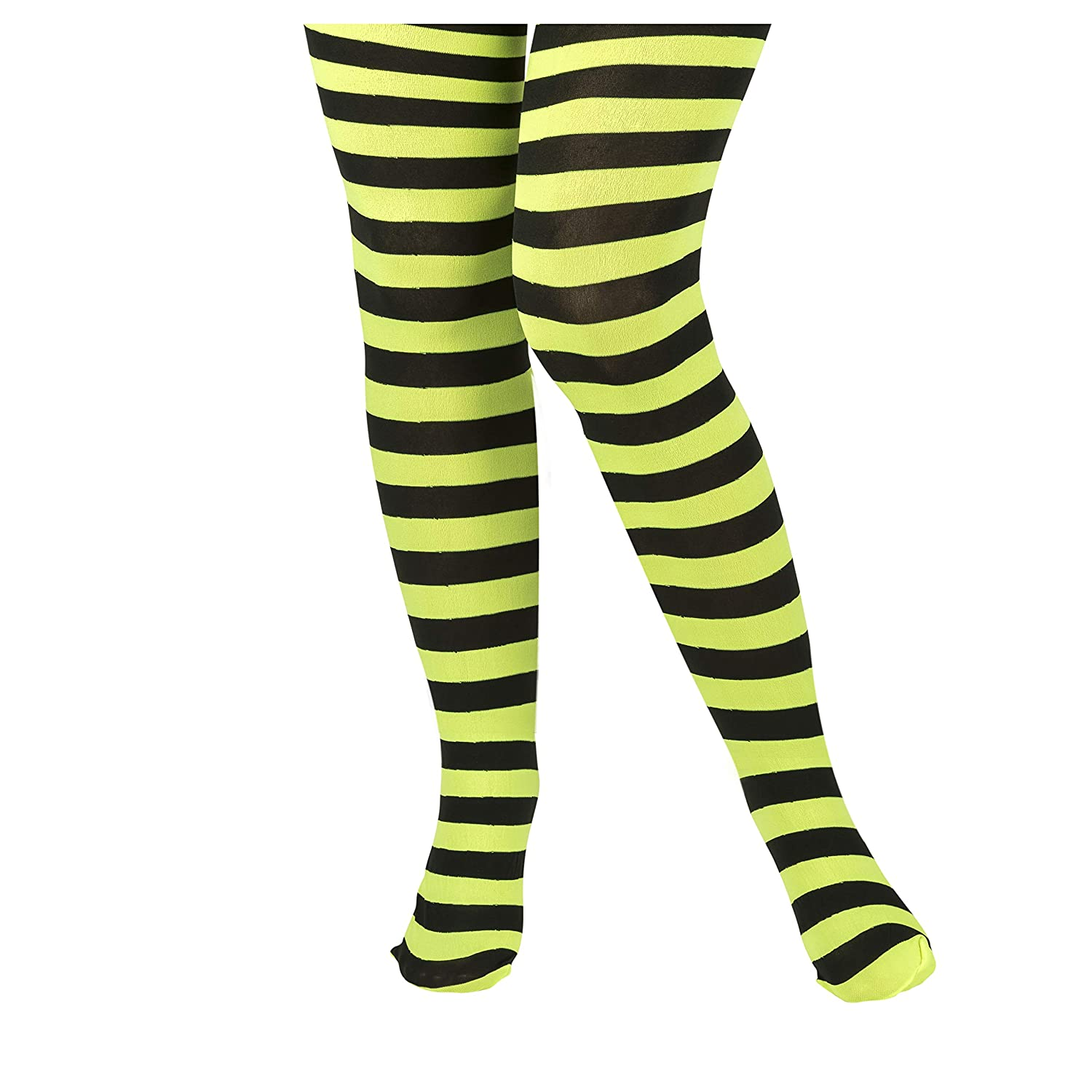 TRIXES Girls Horizontal Striped Child Tights 75 DEN One Size Green and Black