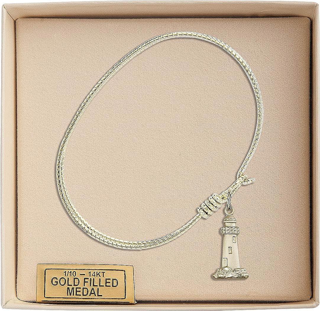 Lighthouse Charm On A 7 1//4 Inch Oval Eye Hook Bangle Bracelet