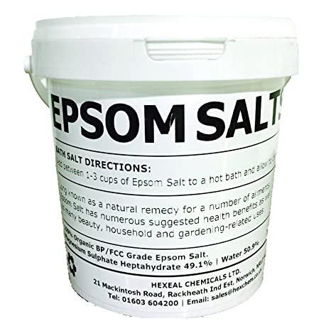 Hexeal Chemicals Epsom Sal | 1 kg Cubo | 100% Natural | FCC ...