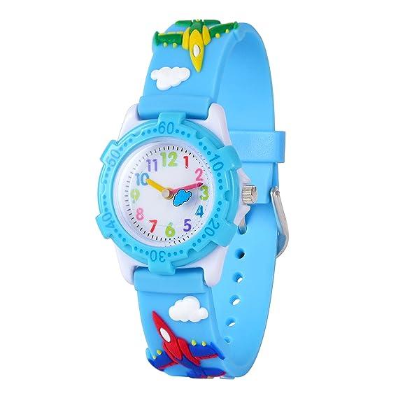 WOLFTEETH Niño Mi Primer Reloj al Aire Libre Tiempo Maestro Reloj de Pulsera con Segunda Mano 3D Sky Blue Warplane Correa Plástico Bisel 307802: Amazon.es: ...