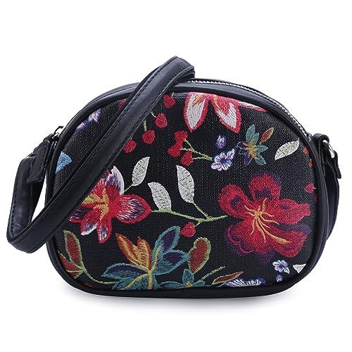 DAVIDJONES Fashion Black Mini Cute Floral Patent Leather Wallet Zipper  Crossbody Purse for Women on Sale