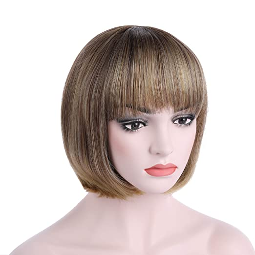 1920s Flapper Headband, Gatsby Headpiece, Wigs OneDor 10 Short Straight Hair Flapper Cosplay Costume Bob Wig (R1416T) $16.99 AT vintagedancer.com