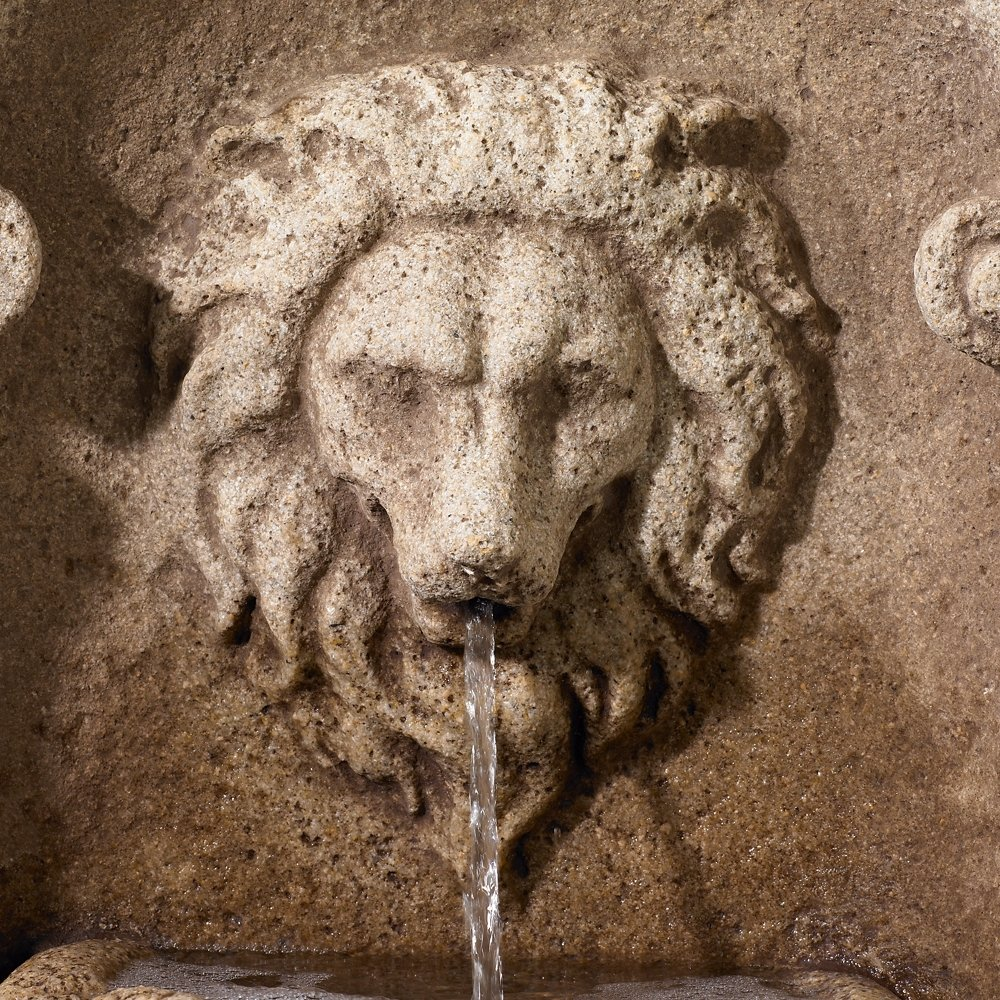 """Reconstituted Granite Lion 49"""" High Wall Basin Fountain"""