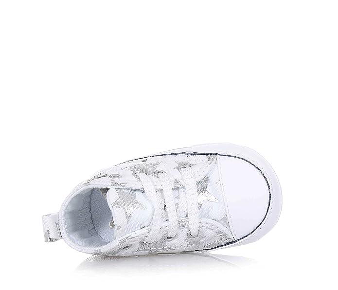 Converse - Converse Ctas First Star Hi Scarpe Culla Bambina Bianche Stelle  Argento - White ad3781ddfe9
