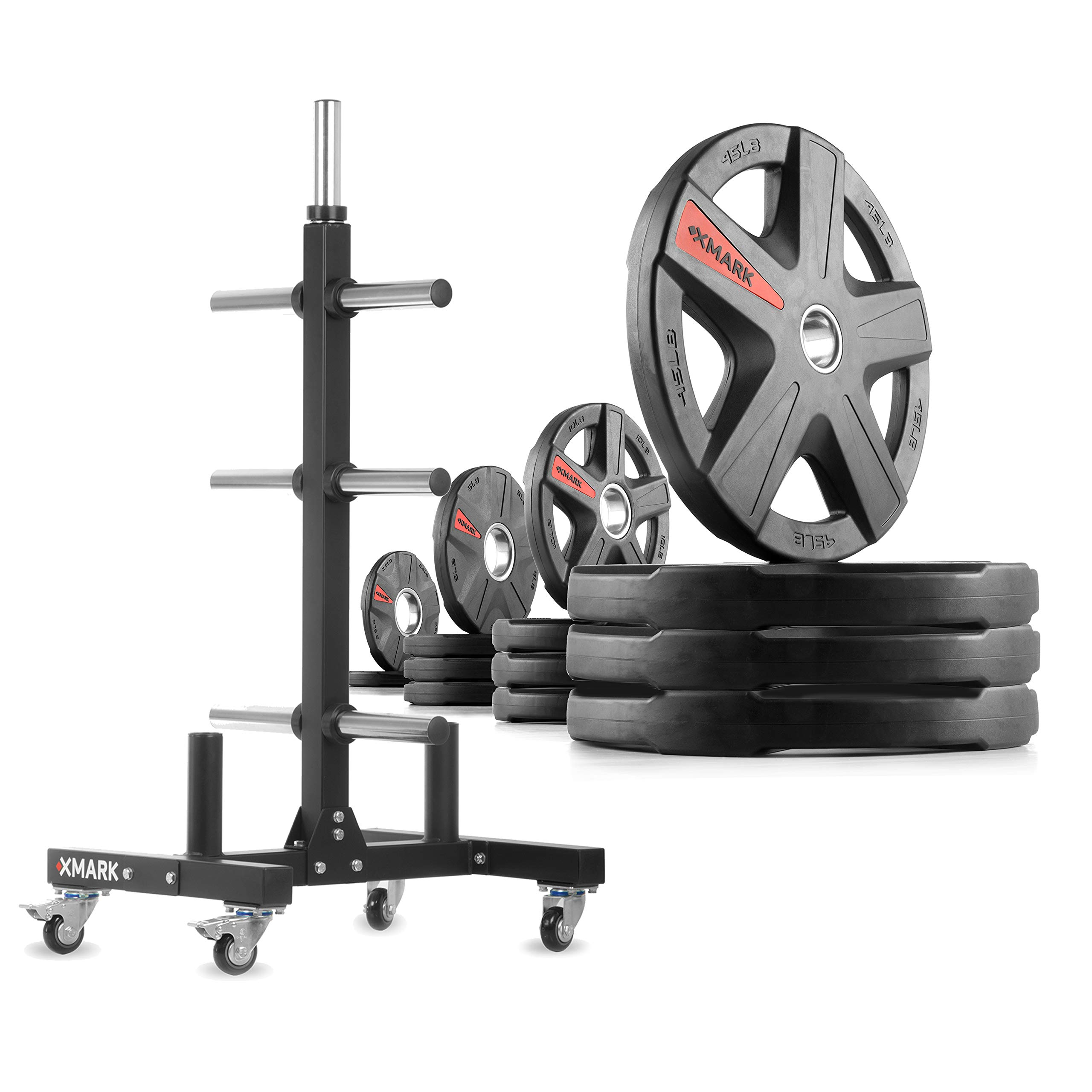 XMark XM-9055 Commerical Olympic Weight Tree Plus a 245 lb Set of Texas Star Olympic Plates