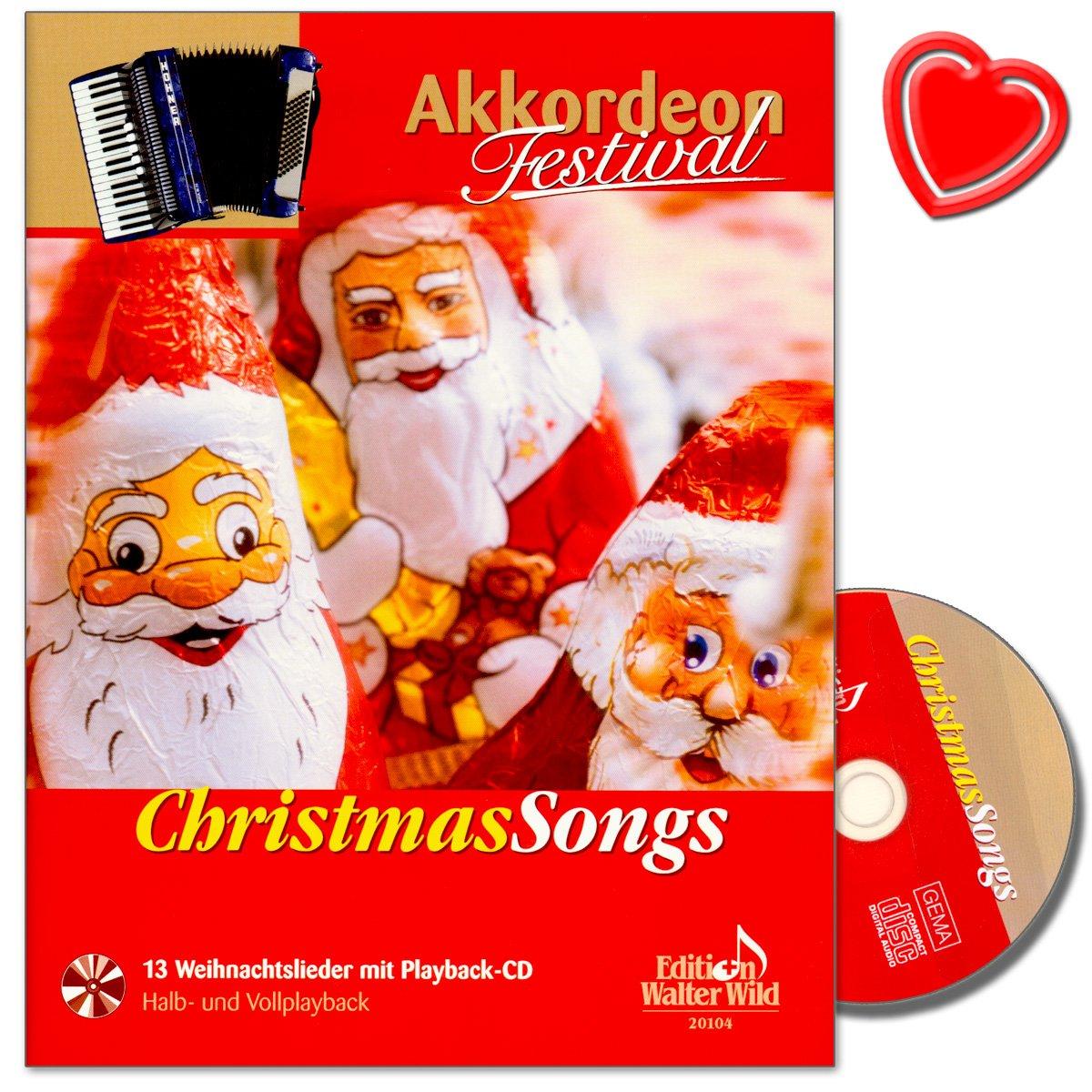 Christmas Songs–Accordéon Festival–13poppige chansons de Noël avec lecture CD–herausgeber Arturo himmer–(avec cœur Note colorée Pince)