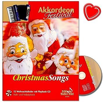 Christmas Songs - Acordeón Festival - 13 poppige Canciones de Navidad con reproducción de CD - Editorial Arturo himmer - (con Bunter herzförmiger Pinza para ...