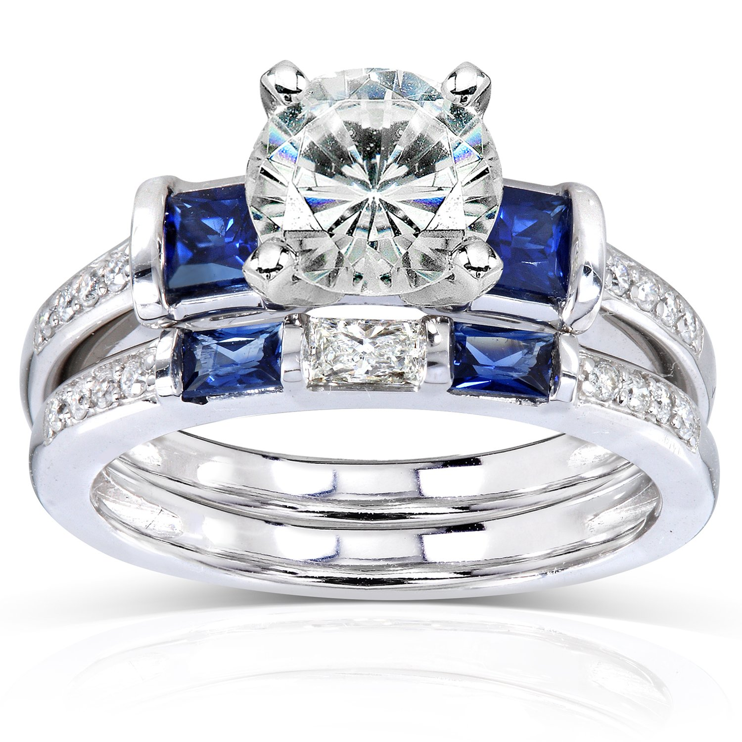 Forever One (D-F) Moissanite with Blue Sapphire & Diamond Bridal Ring Set 2 1/4 Carat (ctw) in 14k White Gold