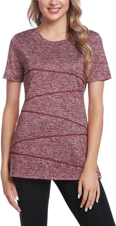 iClosam Camiseta para Mujer Yoga Deportiva Colores Lisos Fitness Transpirable Sueltos Gimnasio Ropa Algodon De Mujers
