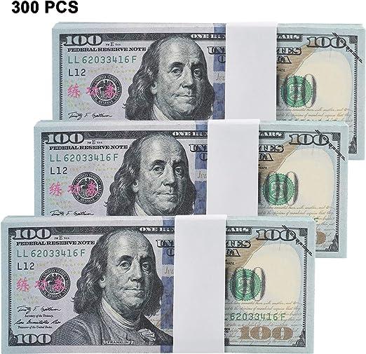 300 Unidades Copia Dinero Billetes de 100 Dólares Dinero Prop. Doble Cara Impreso Dinero Falso Educativo Dinero de Juego para la Película de la Fiesta Prop Suministros: Amazon.es: Hogar