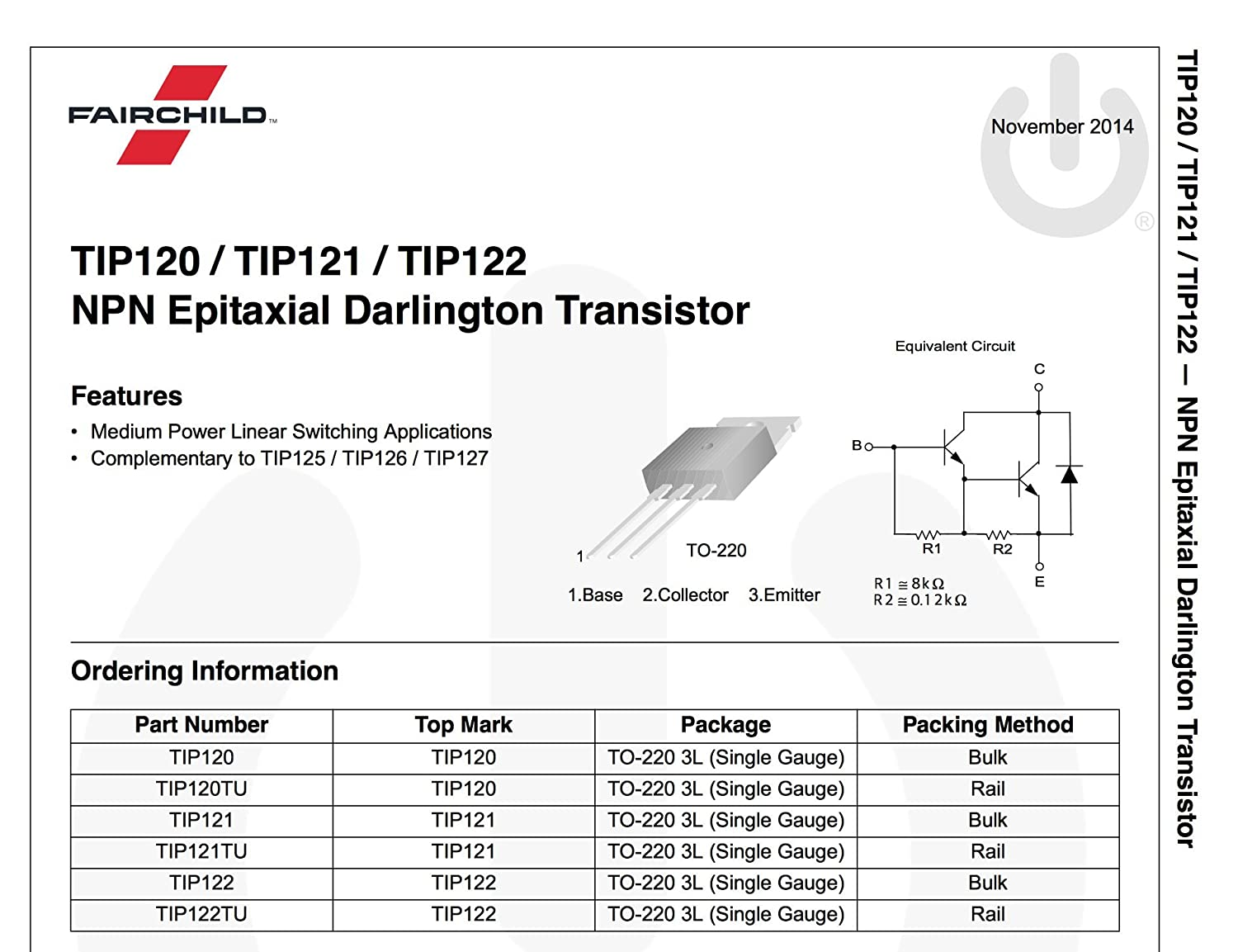Fairchild Semiconductor Tip120 Darlington Transistor Npn 60v To The Can Be Just About Any General Purpose 2n2222 Bc337 Etc 220 5 Pieces Industrial Scientific
