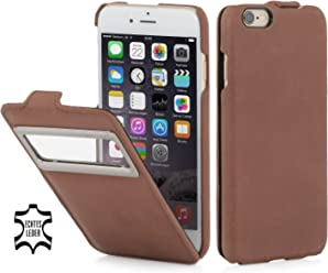 "StilGut® UltraSlim Case, custodia in pelle per Apple iPhone 6 & iPhone 6s (4.7"") con identificativo chiamate, cognac vintage"