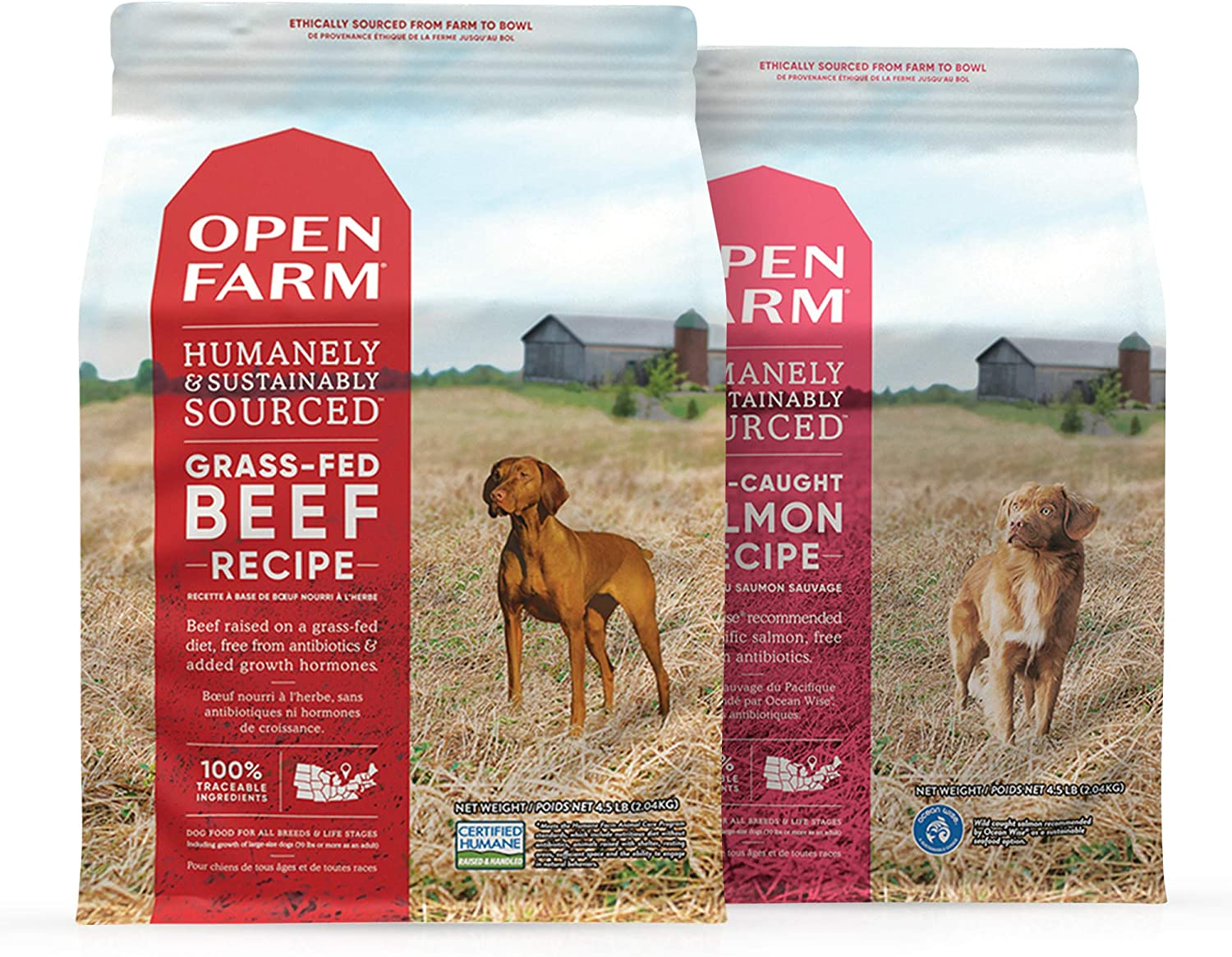 Open Farm Grain Free Dog Food, Wild-Caught Salmon and Grass-Fed Beef Bundle with Non-GMO Superfoods and No Artificial Flavors or Preservatives, 4.5 lbs