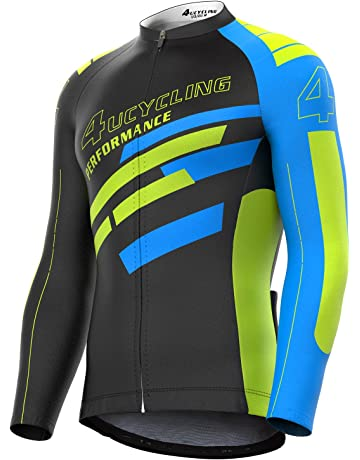 eaad90ee5 4ucycling Men s Full Zip Moisture Wicking Long Sleeve Cycling Jersey