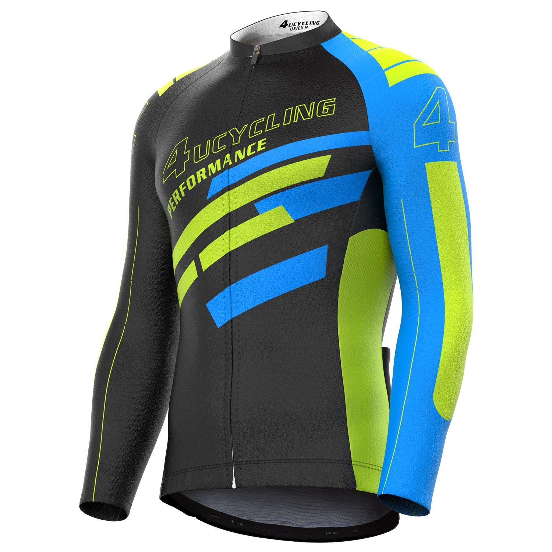 4ucycling Men's Full Zip Moisture Wicking Long Sleeve Cycling Jersey, Breathable Running Tops - Bike Biking Shirt