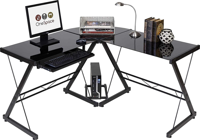 Amazon Com Onespace Ultramodern Glass L Shape Desk Black Furniture Decor