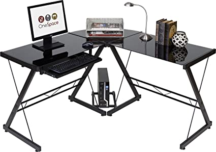 Onespace Ultramodern Glass L Shape Desk Black