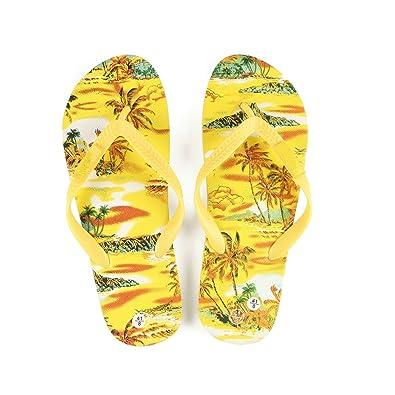 Hawaiianer-Druck-Sonnenuntergang-Strand-Palme-Hibiskus-Wellen-Frauen Flip Flops Sandalen im gelben Sonnenuntergang Größe 8 bWIC9lNQKJ