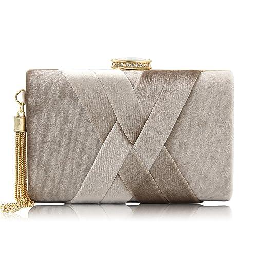 0a768ddd85 ORPIO Women's Velvet Suede Tassel Elegant Evening Clutch Bag