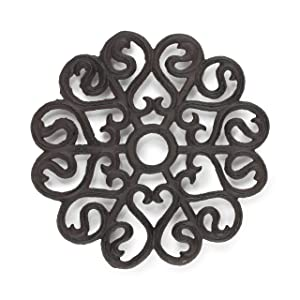 gasaré, Cast Iron Trivet for Hot Dishes, Victorian Design, Legs with Rubber Caps, 8 Inches, Rust Brown Color