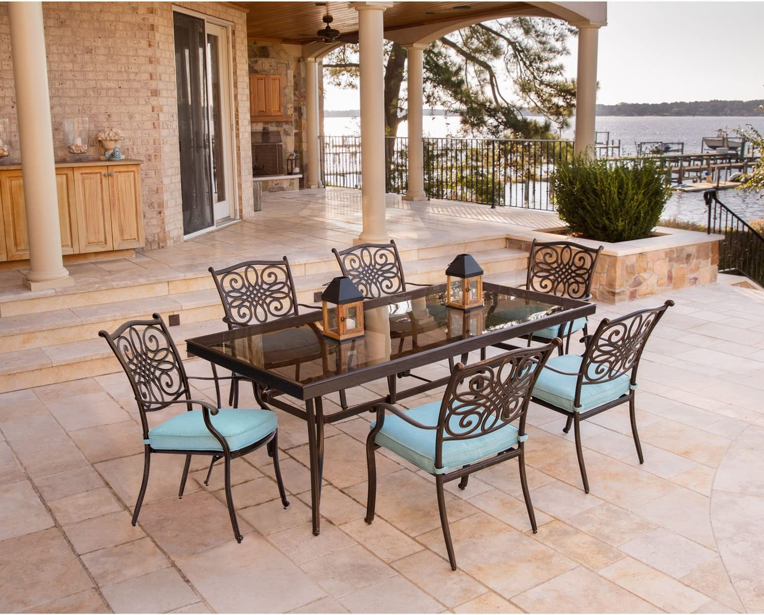 Hanover TRADDN7PCG-BLU Traditions 7 Piece Dining Set in Blue with Extra Large Glass-Top Dining Table
