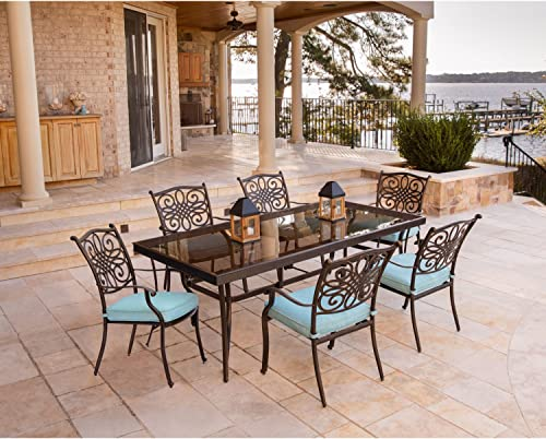 Hanover TRADDN7PCG-BLU Traditions 7 Piece Dining Set