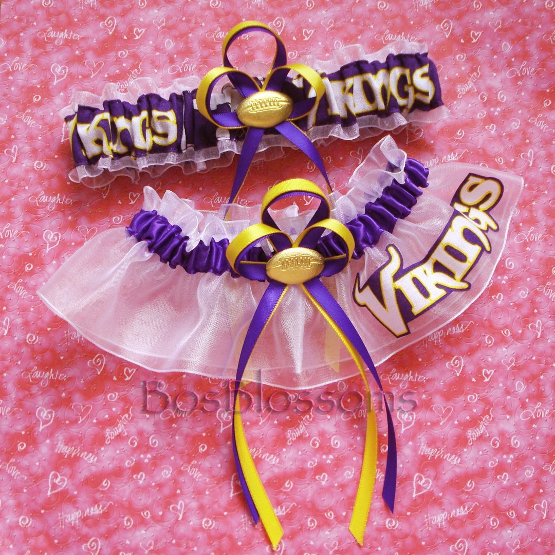Customizable - Minnesota Vikings fabric handmade into bridal prom organza wedding garter set with football charm
