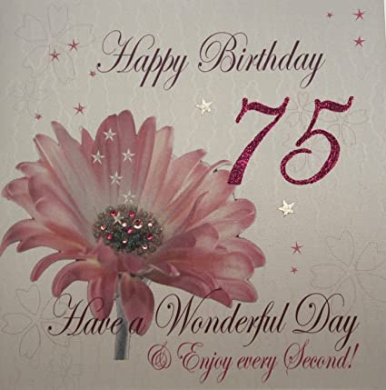 White Cotton Cards 1 Piece Happy 75th Birthday Extra Large Card Pink Flower Amazoncouk Kitchen Home