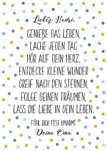 Geschenk Zur Taufe Kinderzimmer Poster Mit Spruch Gelb