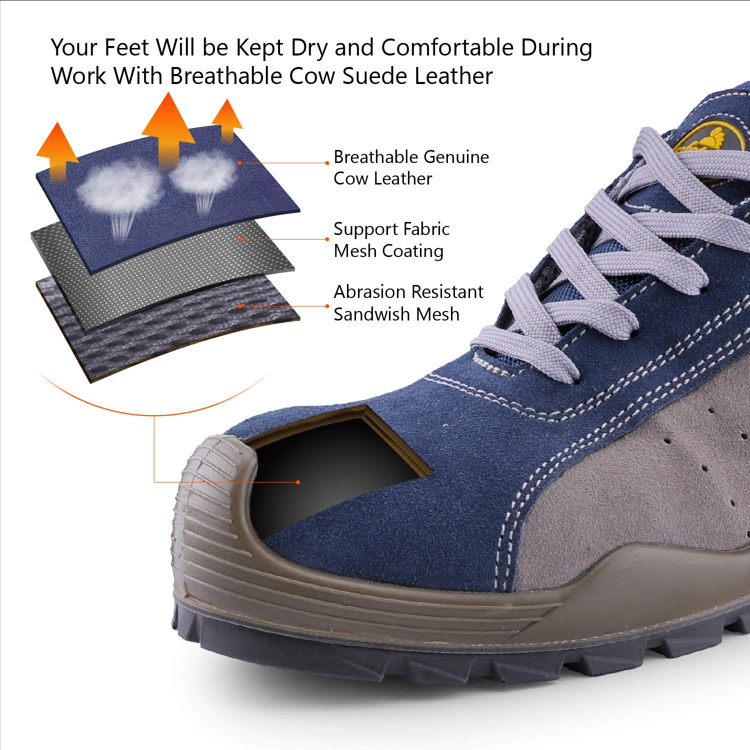 e61c5da7fd6c SAFETOE Breathable Leather Safety Shoes  CE Certified  - 7295 Lightweight  Safety Trainers with 4E Wide Fit Steel Toe Cap