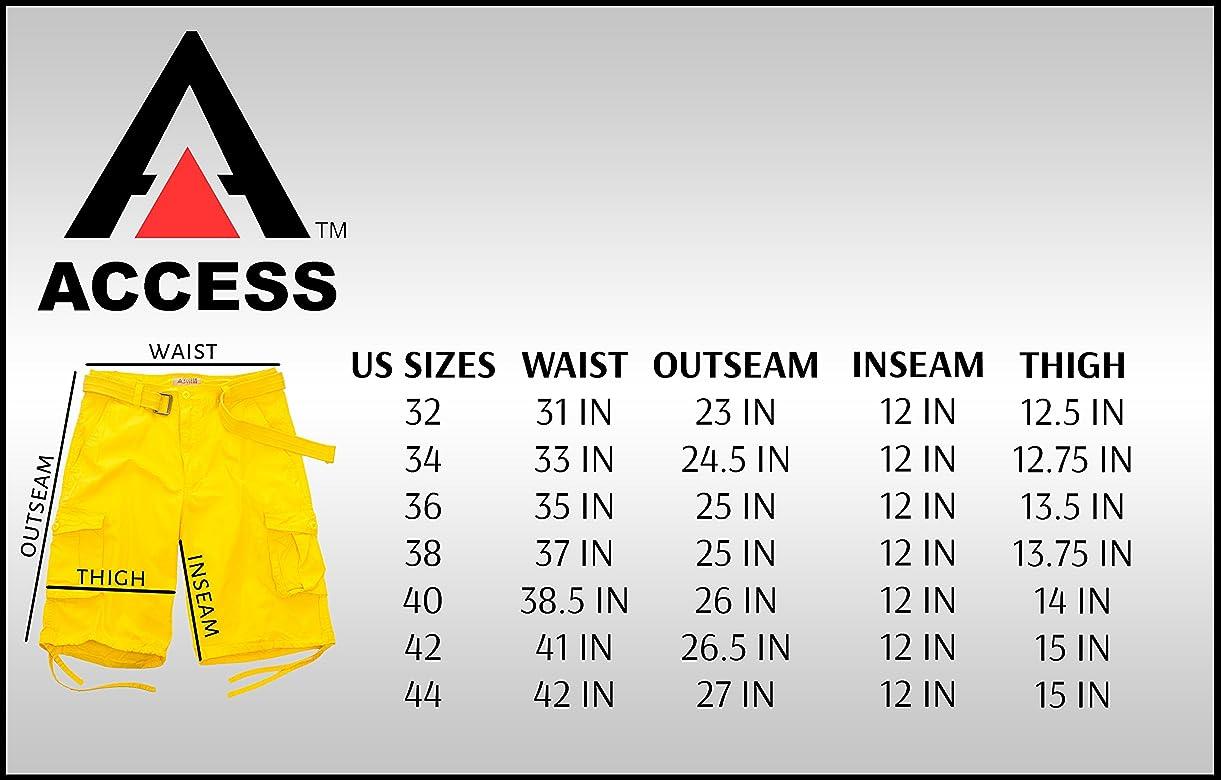 Access Mens Washed Cargo Shorts with Belt 42, Khaki