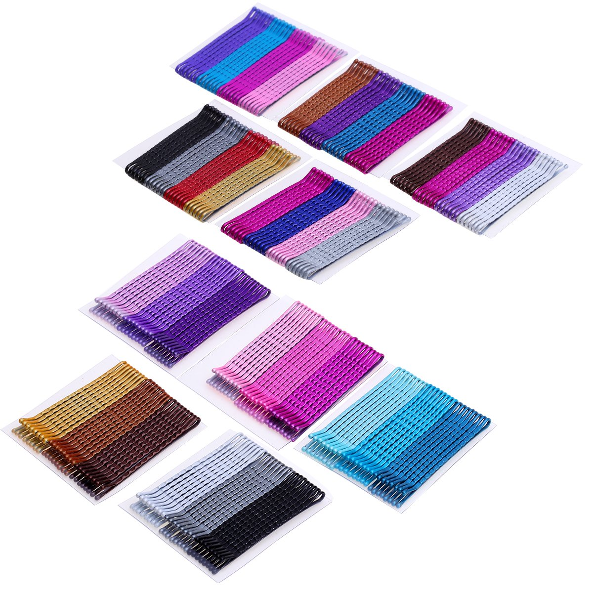 Justbuy Bobby Pins 2 Inches Hair Clips Metal Barrettes 24 pcs Per card, 10 Card Counted Color Mixed