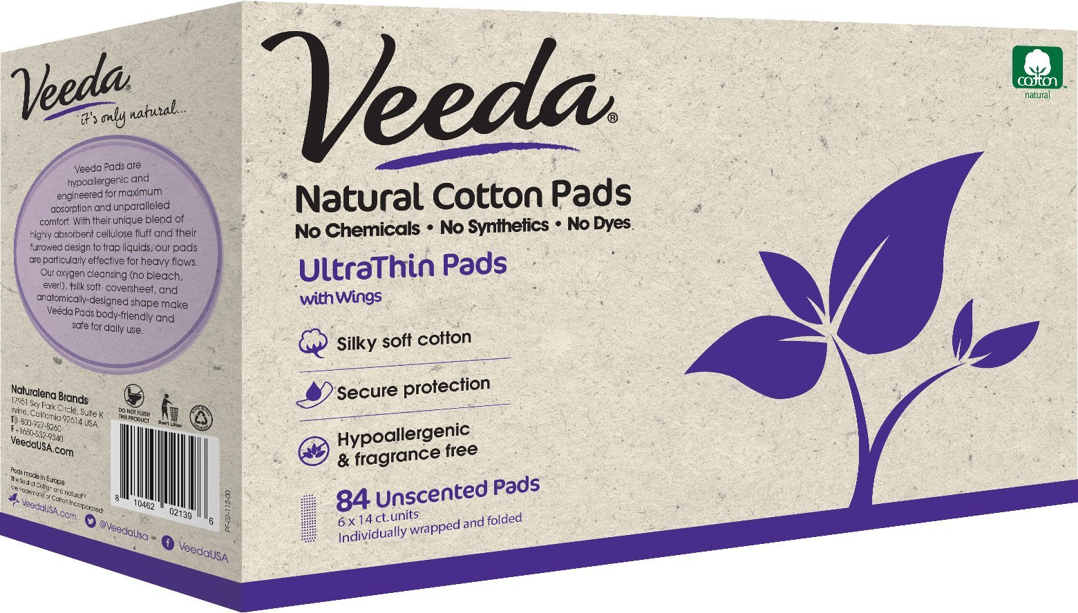 Amazon.com: Veeda Ultra Thin Pads with Wings, Natural Cotton, Hypoallergenic, Unscented 84 Count: Health & Personal Care