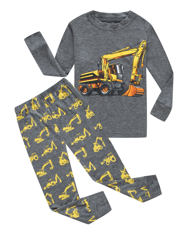 Family Feeling Truck Little Boys Kids Pajamas Sets 100% Cotton Pjs Toddler