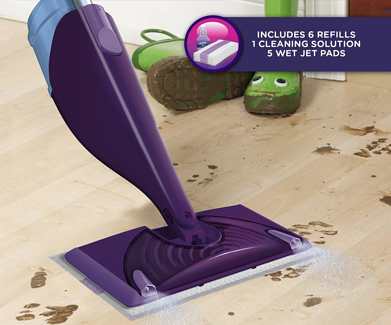 Swiffer WetJet Hardwood and Floor Spray Mop Cleaner Starter Kit, Includes: 1 Power Mop, 5 Pads, Cleaner Solution, Batteries: Amazon.ca: Health & Personal ...