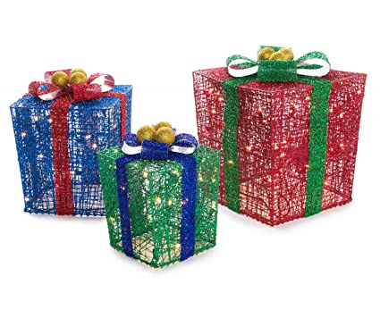 amazon com outdoor 3 pc holiday presents pre lit gift boxes red
